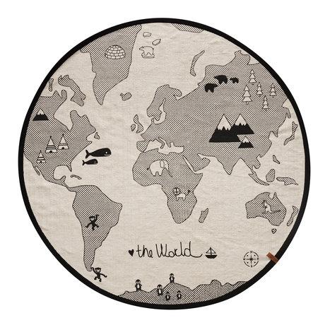 OYOY Alfombra en el mundo, Ø135cm de algodón blanco y negro