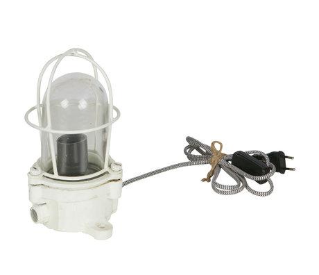 BePureHome Lampe de table lumière 24x15x15cm navire en métal blanc