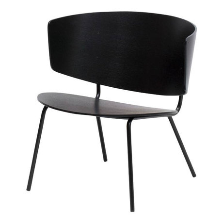 Ferm Living Lounge Chair Herman black metal timber 68x68x60cm