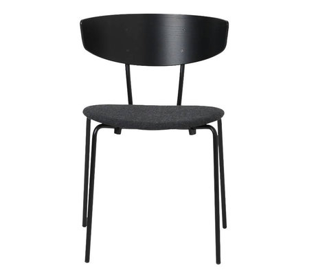 Ferm Living Dining chair Herman padded black wood metal textile 50x74x47cm