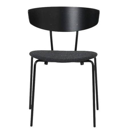 Ferm Living Salle à manger chaise Herman rembourrée bois noir textile métallique 50x74x47cm