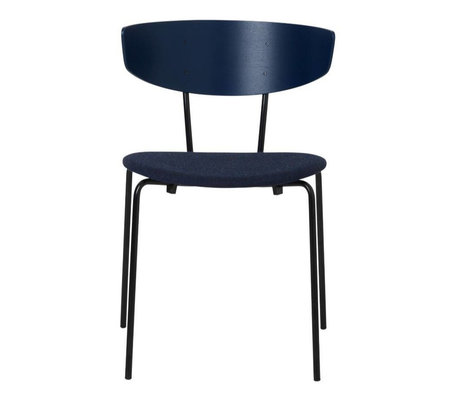 Ferm Living Dining chair Herman cushion dark blue wood metal textile 50x74x47cm
