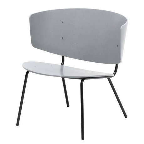 Ferm Living Lounge Chair Herman gray metal timber 68x68x60cm