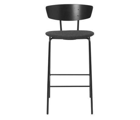 Ferm Living Bar stool Herman Low upholstered black dark gray wood metal textile 39,5x39,5x83,5cm