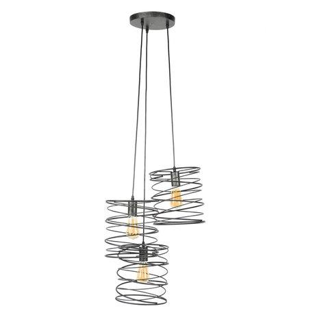 Wonenmetlef Vedhæng lys Memphis 3-flammer antracitfarvet metal Ø40x150cm