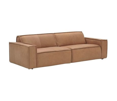 FÉST Leather sofa `Edge` 3 seater, brown