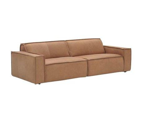 FÉST Sofá de cuero `Edge` 3 plazas, marrón