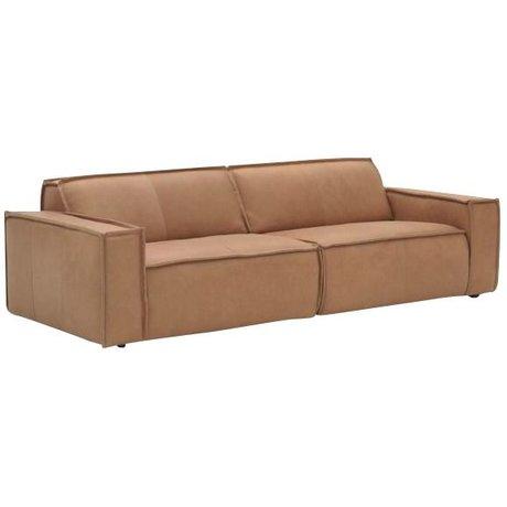 FÉST Canapé en cuir `Edge` 3 places, brun