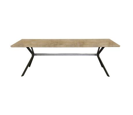 Wonenmetlef Dining table Lux antiqued brown MDF steel 240x100x100x76cm