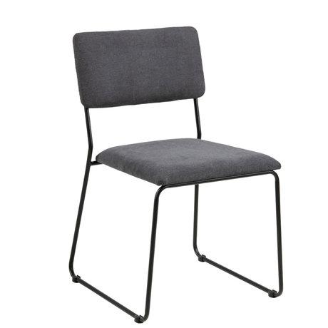 Wonenmetlef Chaise de salle à manger Jill gris anthracite 96 Malmö Textil métal 50x53,5x80cm