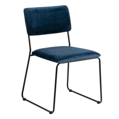 Wonenmetlef Chaise de salle à manger Jill bleu marine 66 noir VIC textile métal 50x53,5x80cm