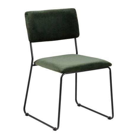 Wonenmetlef Chaise de salle à manger Jill vert forêt 68AC noir VIC textile métal 50x53,5x80cm