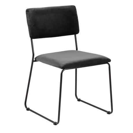 Wonenmetlef Dining chair Jill dark gray 28 black VIC textile metal 50x53,5x80cm