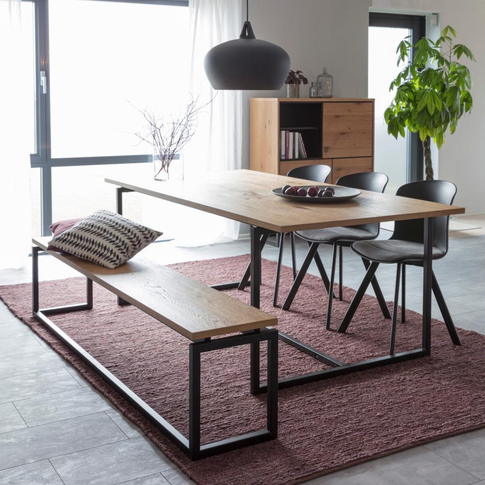 Wonenmetlef Banco Milan metal madera marrón negro natural 160x35x45cm