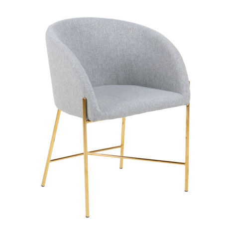 mister FRENKIE Dining chair Manny light gray gold Spy textile metal 56x54x76cm