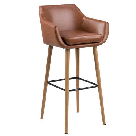 Wonenmetlef Taburete de bar Yara Vintage marrón PU cuero madera 55x54x101cm