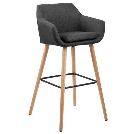 Wonenmetlef Bar stool Yara dark gray 20 Corsica textile wood 55x54x101cm