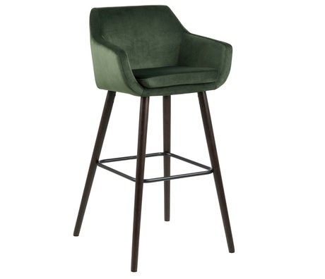 Wonenmetlef Bar stool Yara forest green 68AC VIC textile wood 55x54x101cm