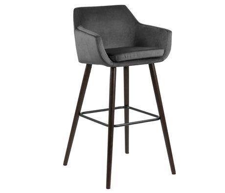 Wonenmetlef Bar stool Yara dark gray 28 VIC textile wood 55x54x101cm