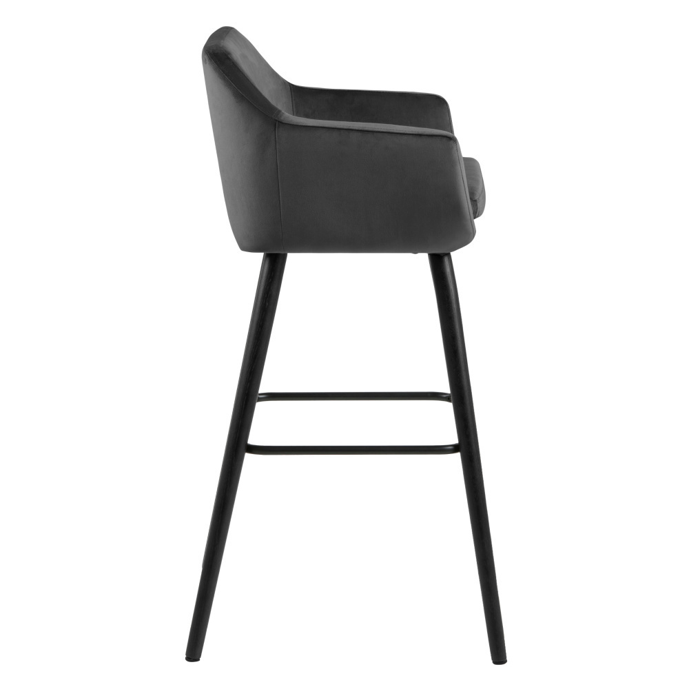 Awesome Wonenmetlef Bar Stool Yara Dark Gray 28 Vic Textile Wood 55X54X101Cm Andrewgaddart Wooden Chair Designs For Living Room Andrewgaddartcom