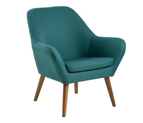 Wonenmetlef Fauteuil Julian bleu pétrole Corse textile bois 76x74x84,5cm