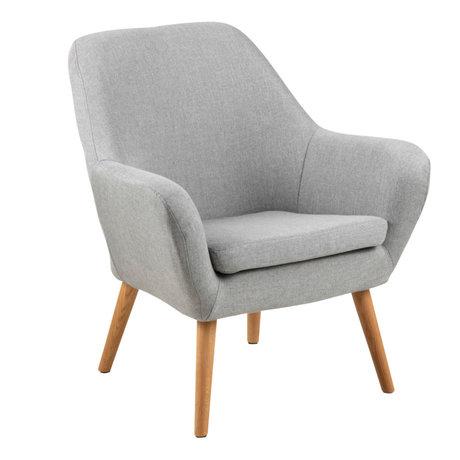 Wonenmetlef Armchair Julian light gray Corsica textile wood 76x74x84,5cm