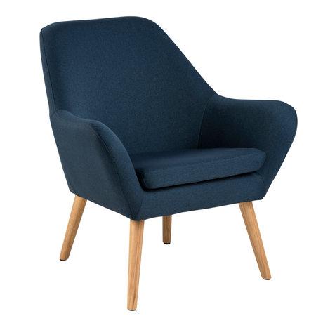 Wonenmetlef Armchair Julian dark blue Town textile wood 76x74x84,5cm