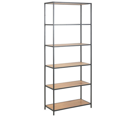 mister FRENKIE Rack Levi natural brown black wood metal 4 shelves 77x35x185cm
