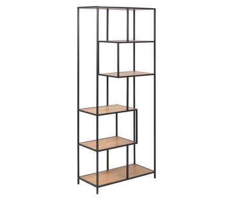 mister FRENKIE Wardrobe Levi natural brown black wood metal 4 shelves 77x35x185cm