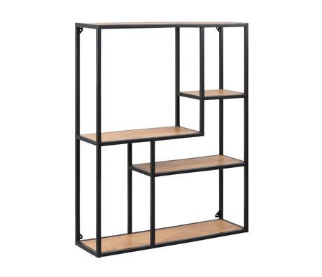 mister FRENKIE Armoire Levi naturelle en bois brun noir métal 3 étagères 75x20x91cm