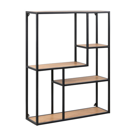 mister FRENKIE Wardrobe Levi natural brown black wood metal 3 shelves 75x20x91cm