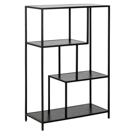 mister FRENKIE Cabinet Levi black wood metal 2 shelves 77x35x114cm