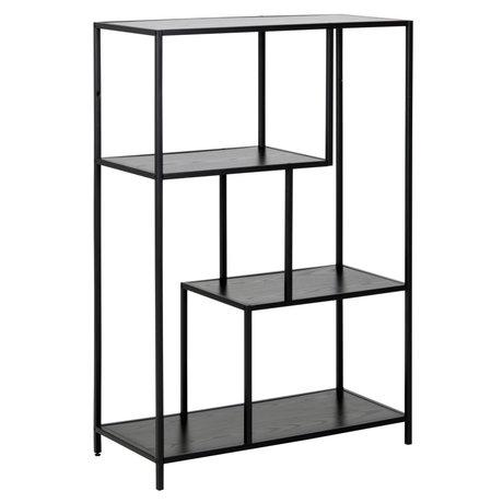 mister FRENKIE Gabinete Levi metal madera negro 2 estantes 77x35x114cm