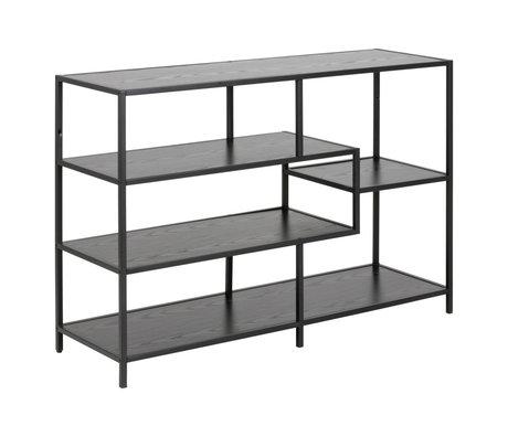 mister FRENKIE Mesa auxiliar Levi metal madera negro 3 estantes 114x35x78cm