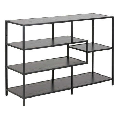 mister FRENKIE Side table Levi black wood metal 3 shelves 114x35x78cm