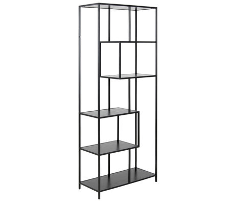 mister FRENKIE Cabinet Levi black wood metal 4 shelves 77x35x185cm