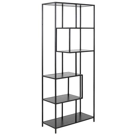 mister FRENKIE Gabinete Levi metal madera negro 4 estantes 77x35x185cm