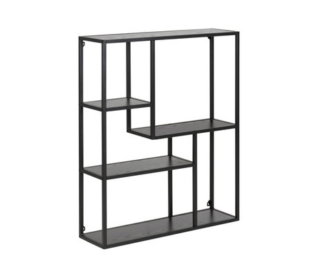 mister FRENKIE Gabinete Levi metal madera negro 3 estantes 75x20x91cm