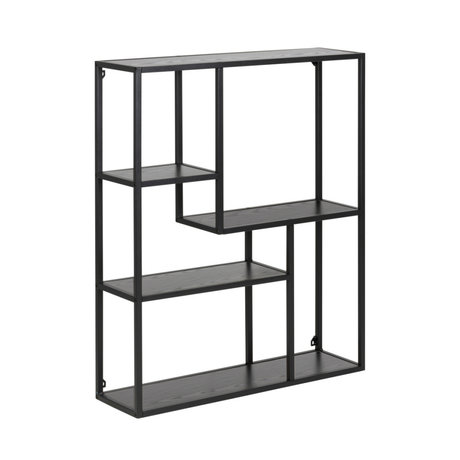 mister FRENKIE Cabinet Levi black wood metal 3 shelves 75x20x91cm