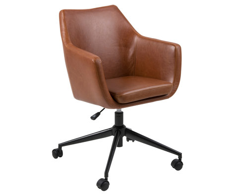 Wonenmetlef Office chair Mia Vintage brown PU leather metal 58x58x95cm