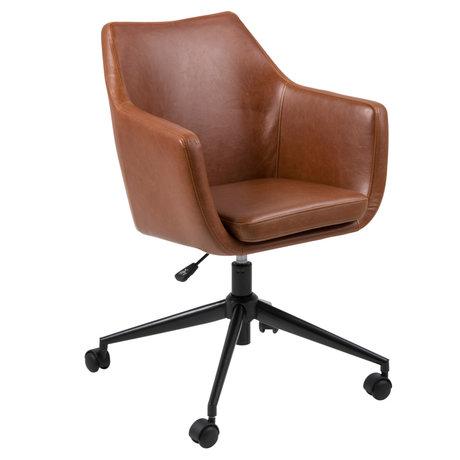 Wonenmetlef Sedia da ufficio Mia Vintage in pelle PU marrone metallo 58x58x95cm