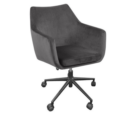 Wonenmetlef Office chair Mia dark gray VIC textile metal 58x58x95cm