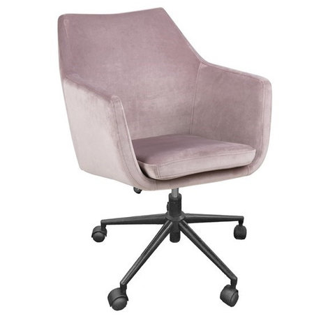 Wonenmetlef Silla de oficina Mia color polvoriento rosa VIC textil metal 58x58x95cm