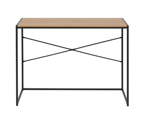Wonenmetlef Desk Emmy natural brown black oak wood metal 100x45x75cm