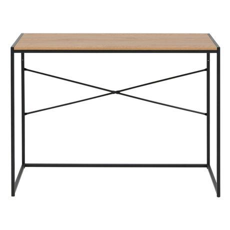 Wonenmetlef Skrivebord Emmy naturligt brun sort egetræstål 100x45x75cm