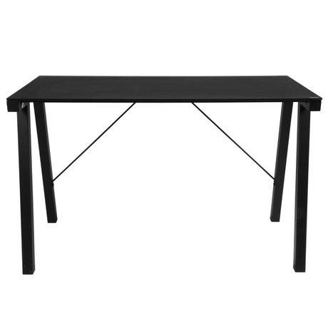 Wonenmetlef Desk Ray black glass metal 125x65x77,5cm