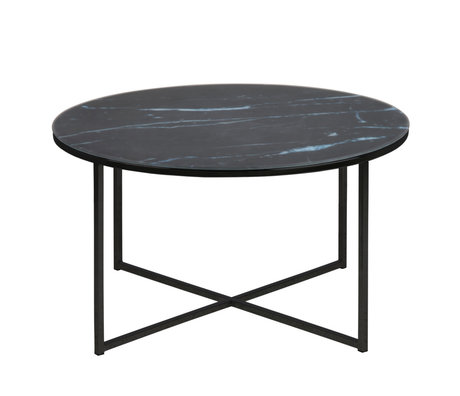 Wonenmetlef Mesa de centro Molly mármol negro vidrio metal Ø80x45cm