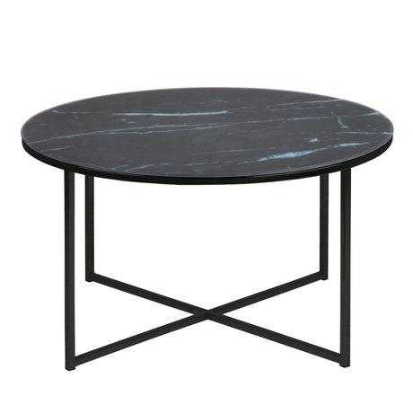 Wonenmetlef Tavolino Molly marmo nero metallo vetro Ø80x45cm