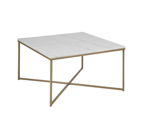 mister FRENKIE Coffee table pink marble white gold metal 80x80x46cm