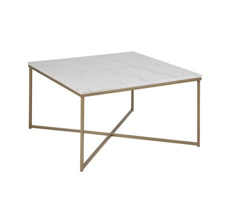 mister FRENKIE Table basse marbre rose en métal doré et verre blanc 80x80x46cm